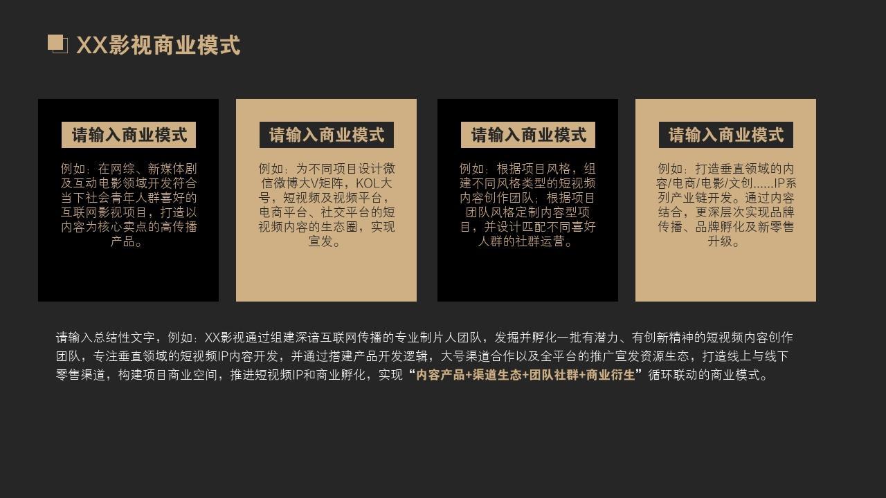 網紅孵化公司MCN文化傳媒行業商業計劃書PPT模板-XX影視商業模式